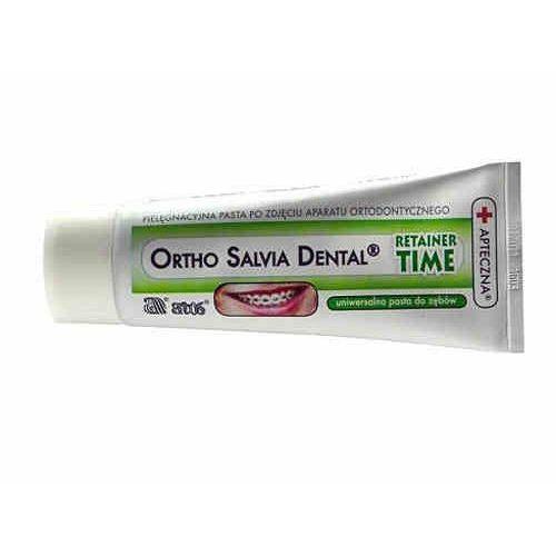 Pasta Ortho Salvia Dental Retainer Time (zielona) - dla osób noszących retainery, po zakończonym leczeniu ortodontycznym 75ml